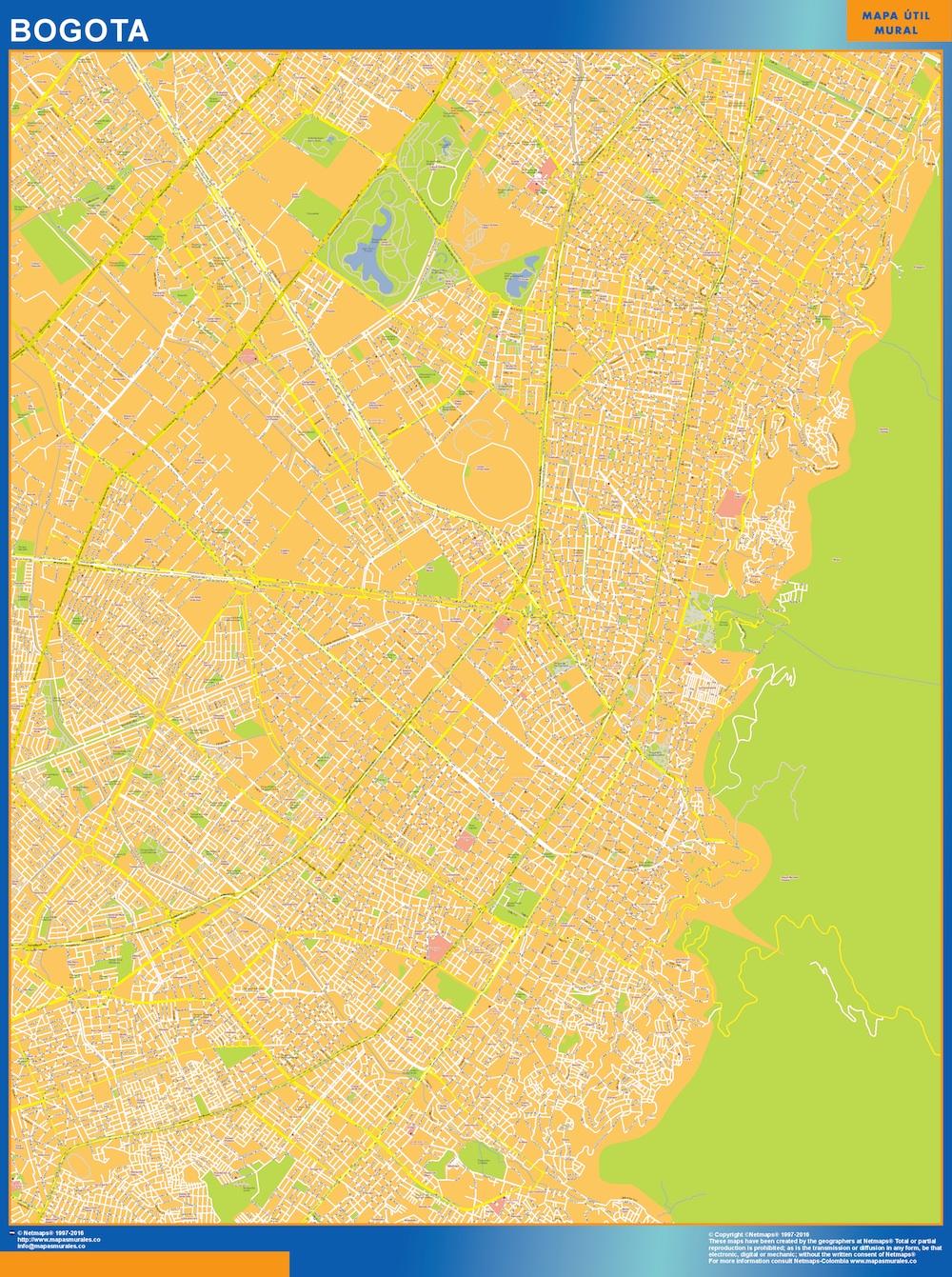 Mapa de Bogota Centro en Colombia plastificado gigante