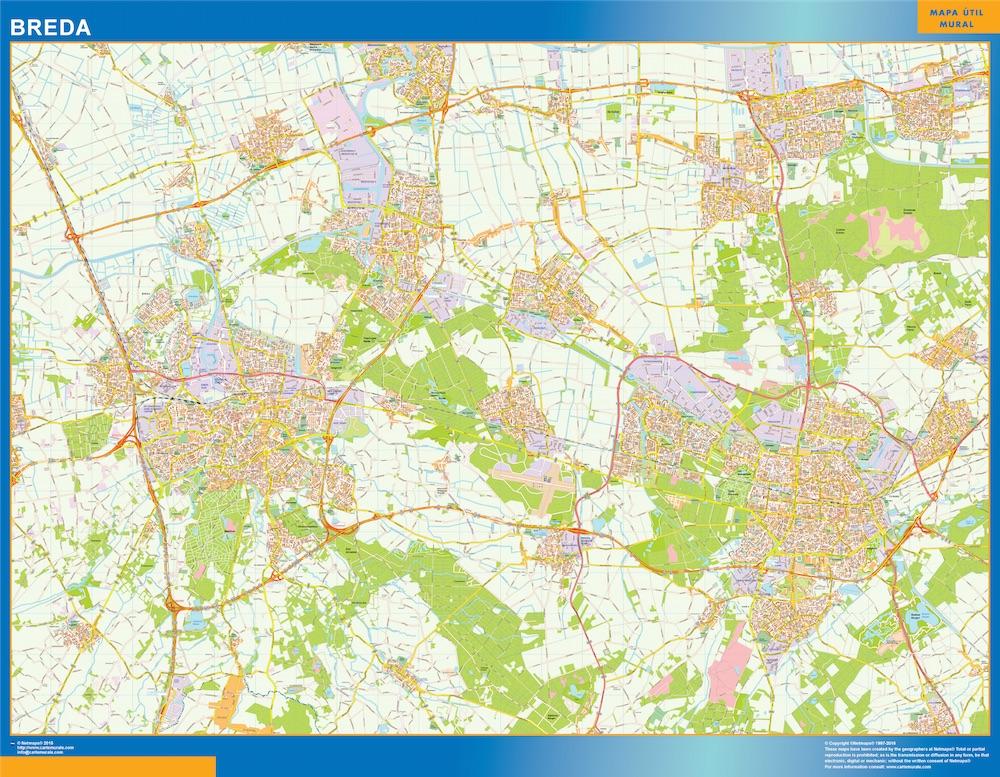 Mapa de Breda plastificado gigante