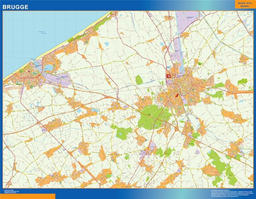 Mapa de Brujas en Bélgica plastificado gigante