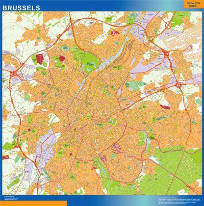 Mapa de Bruselas en Bélgica plastificado gigante