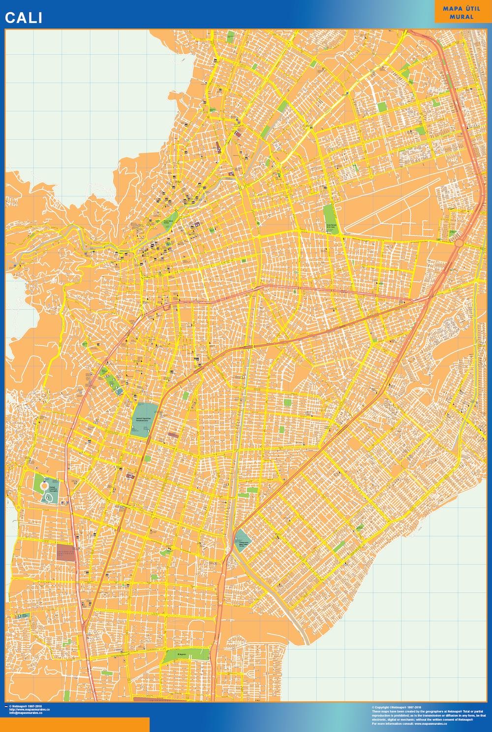Mapa de Cali en Colombia plastificado gigante