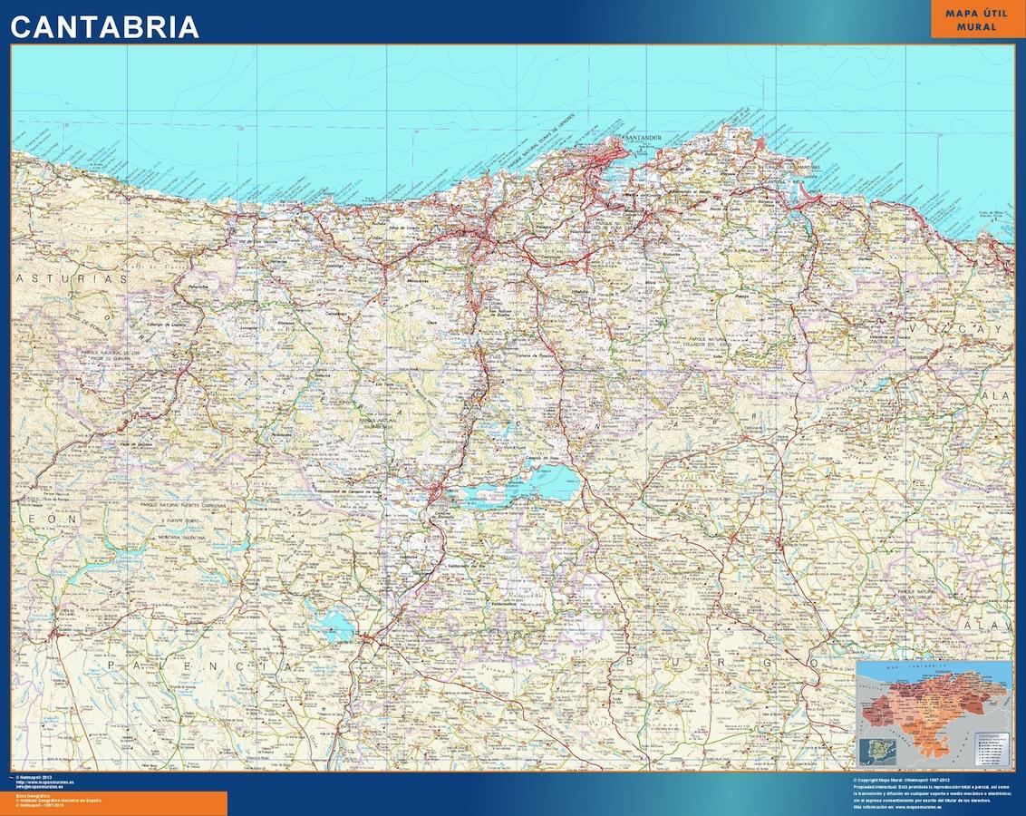 Mapa de Cantabria plastificado gigante