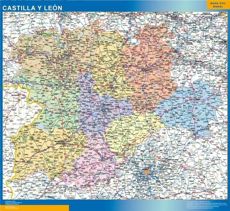 Mapa de Castilla y Leon plastificado gigante