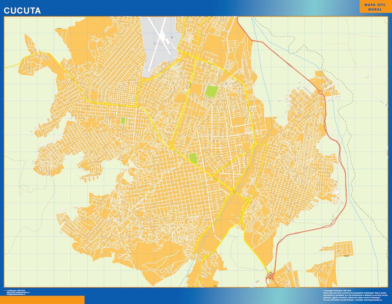 Mapa de Cucuta en Colombia plastificado gigante