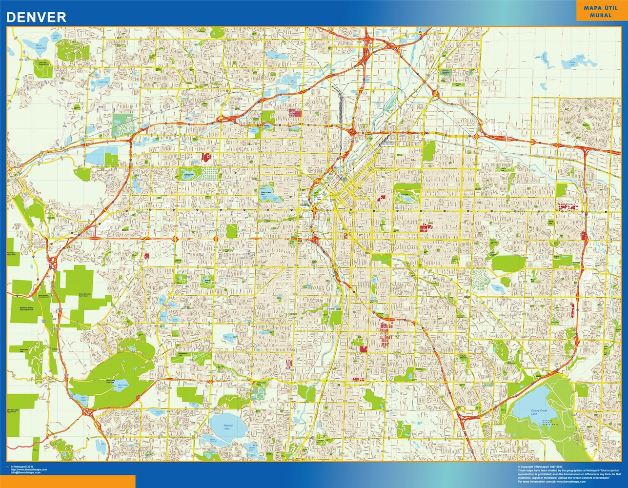 Mapa de Denver plastificado gigante