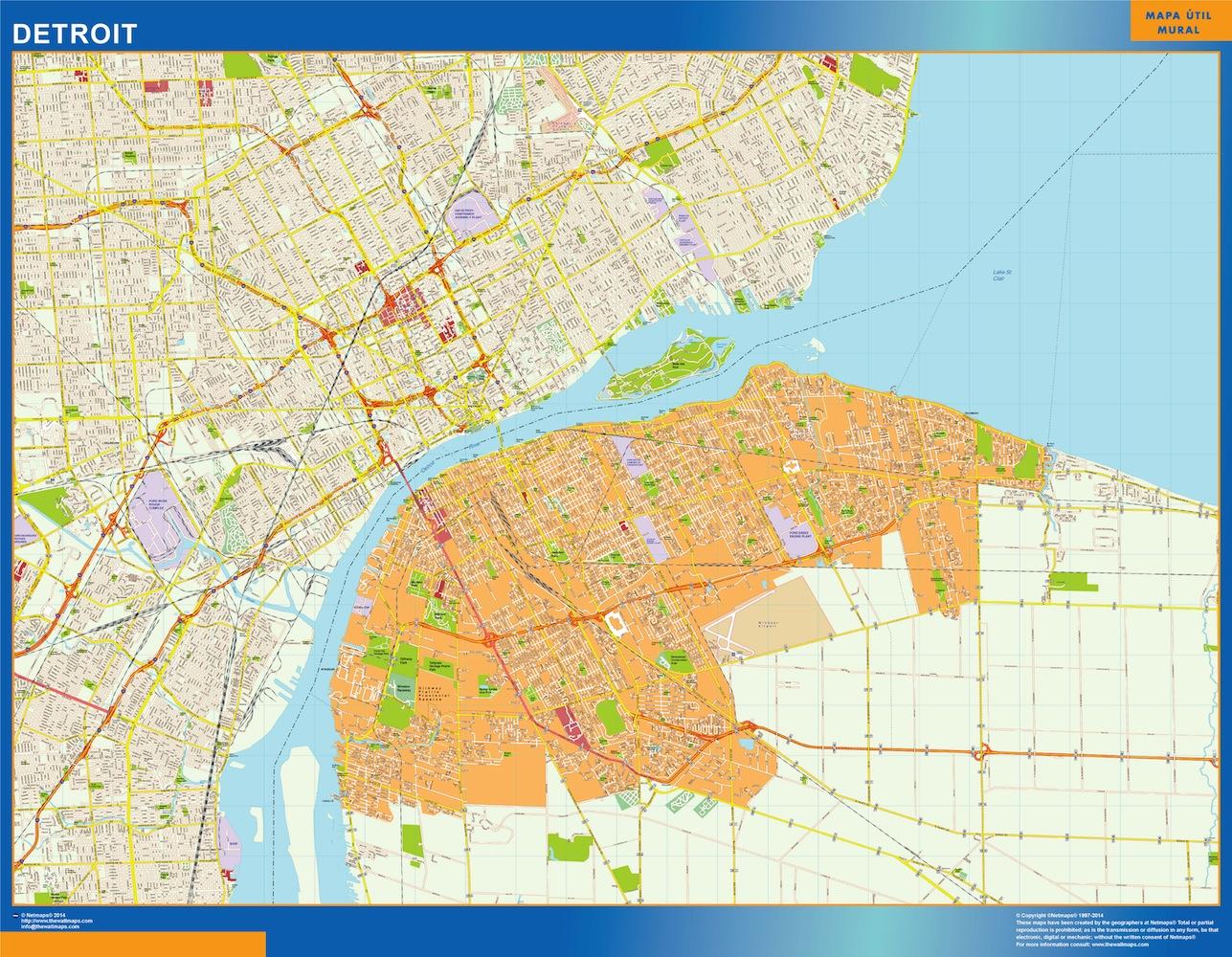 Mapa de Detroit plastificado gigante