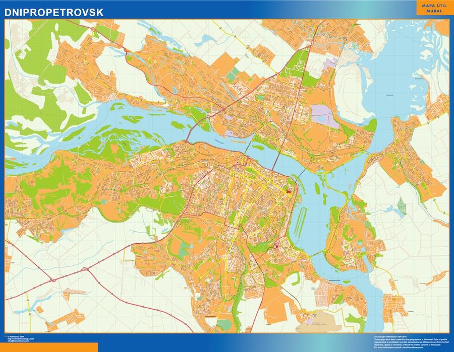 Mapa de Dnipropetrovsk en Ucrania plastificado gigante
