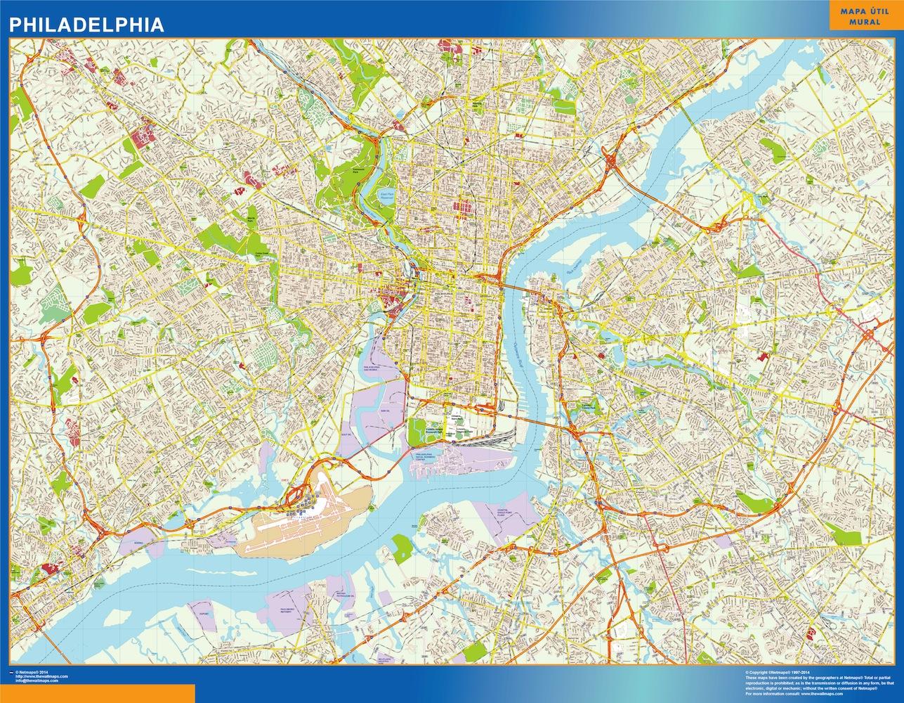 Mapa de Filadelfia plastificado gigante