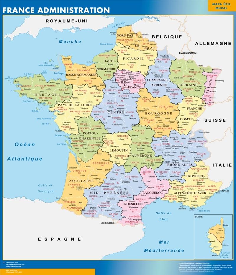 Mapa de Francia de departamentos plastificado gigante