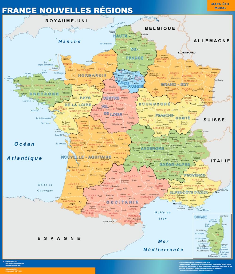 Mapa de Francia con las nuevas regiones plastificado gigante