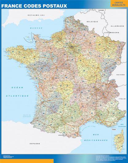 Mapa de Francia de códigos postales plastificado gigante