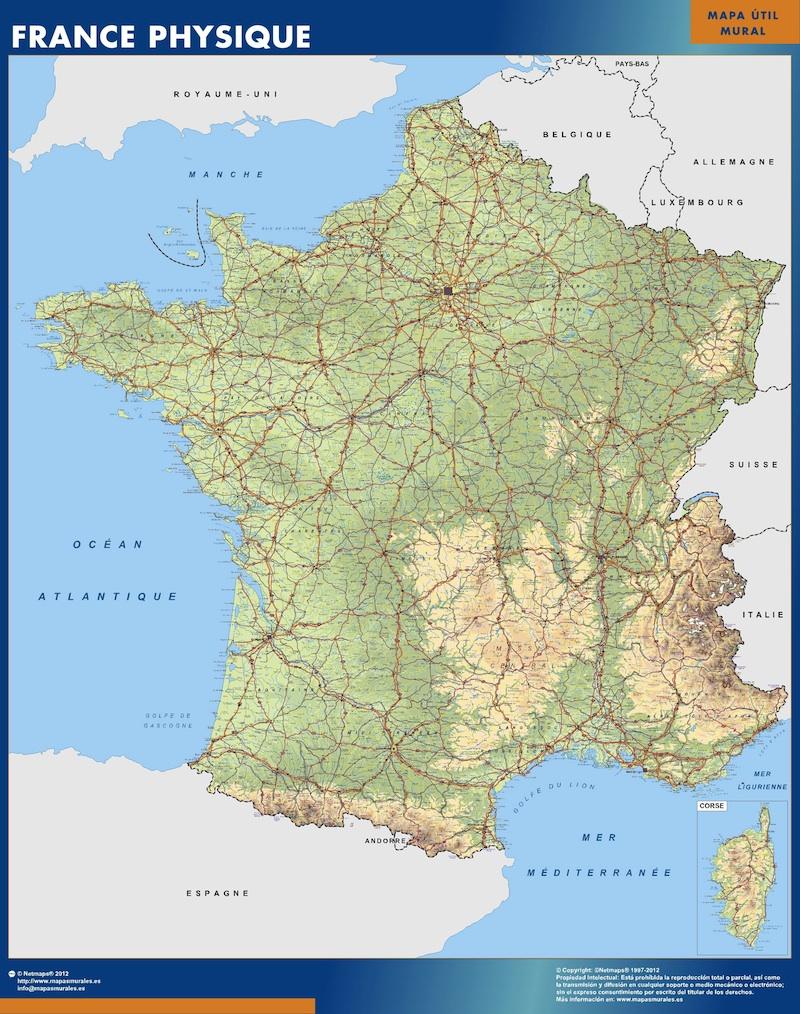 Mapa de Francia físico plastificado gigante