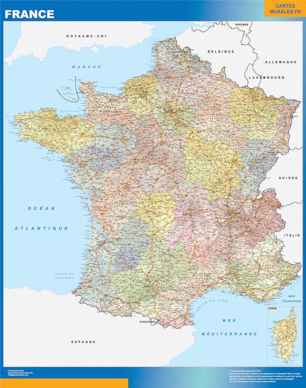 Mapa de Francia politico plastificado gigante