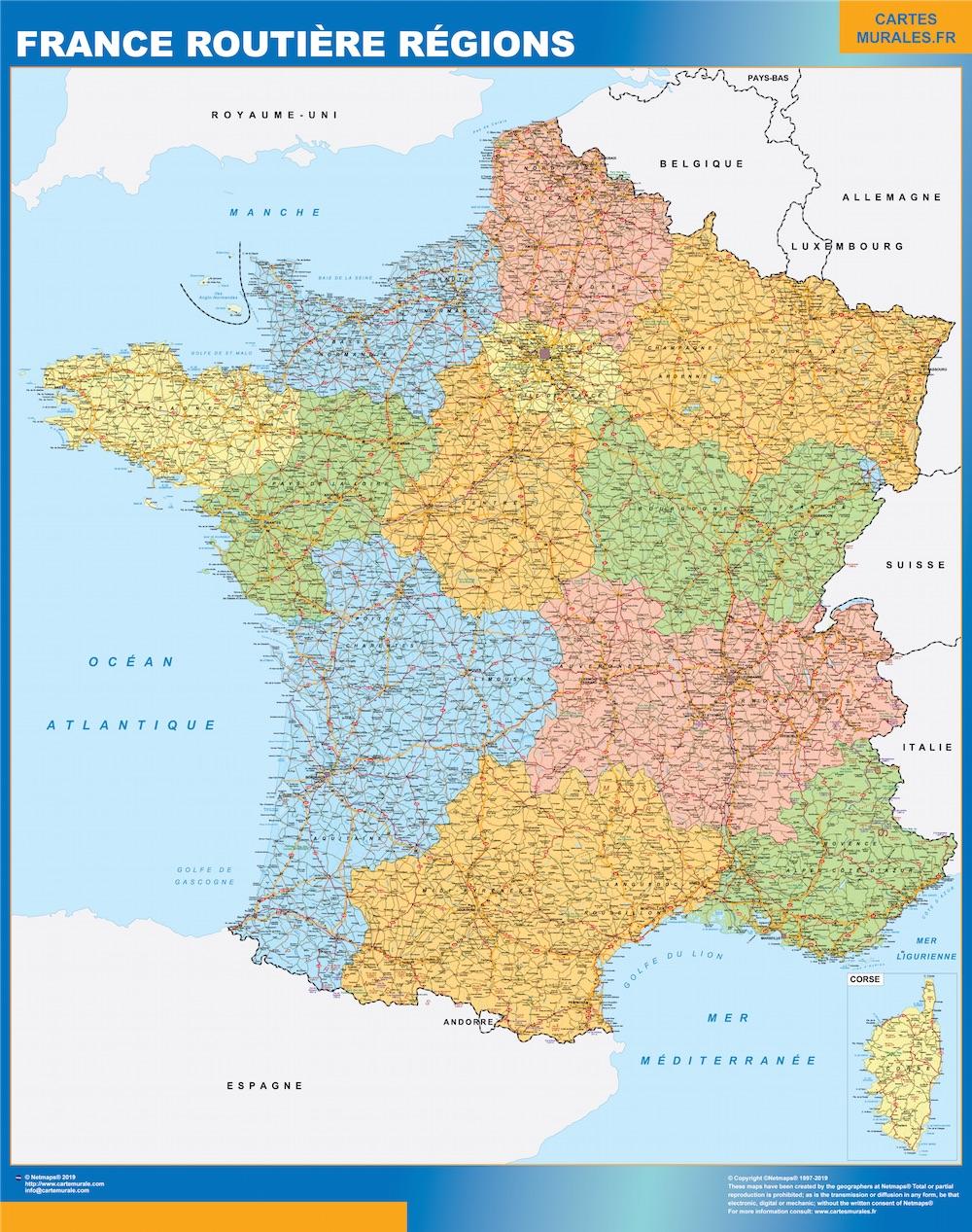 Mapa de Francia regional con carreteras plastificado gigante