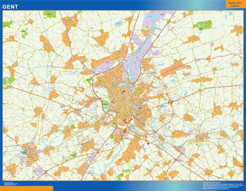 Mapa de Gante en Bélgica plastificado gigante