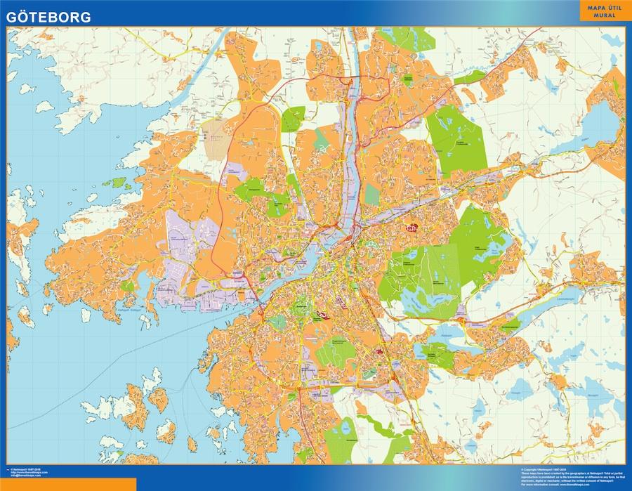 Mapa de Goteborg en Suecia plastificado gigante