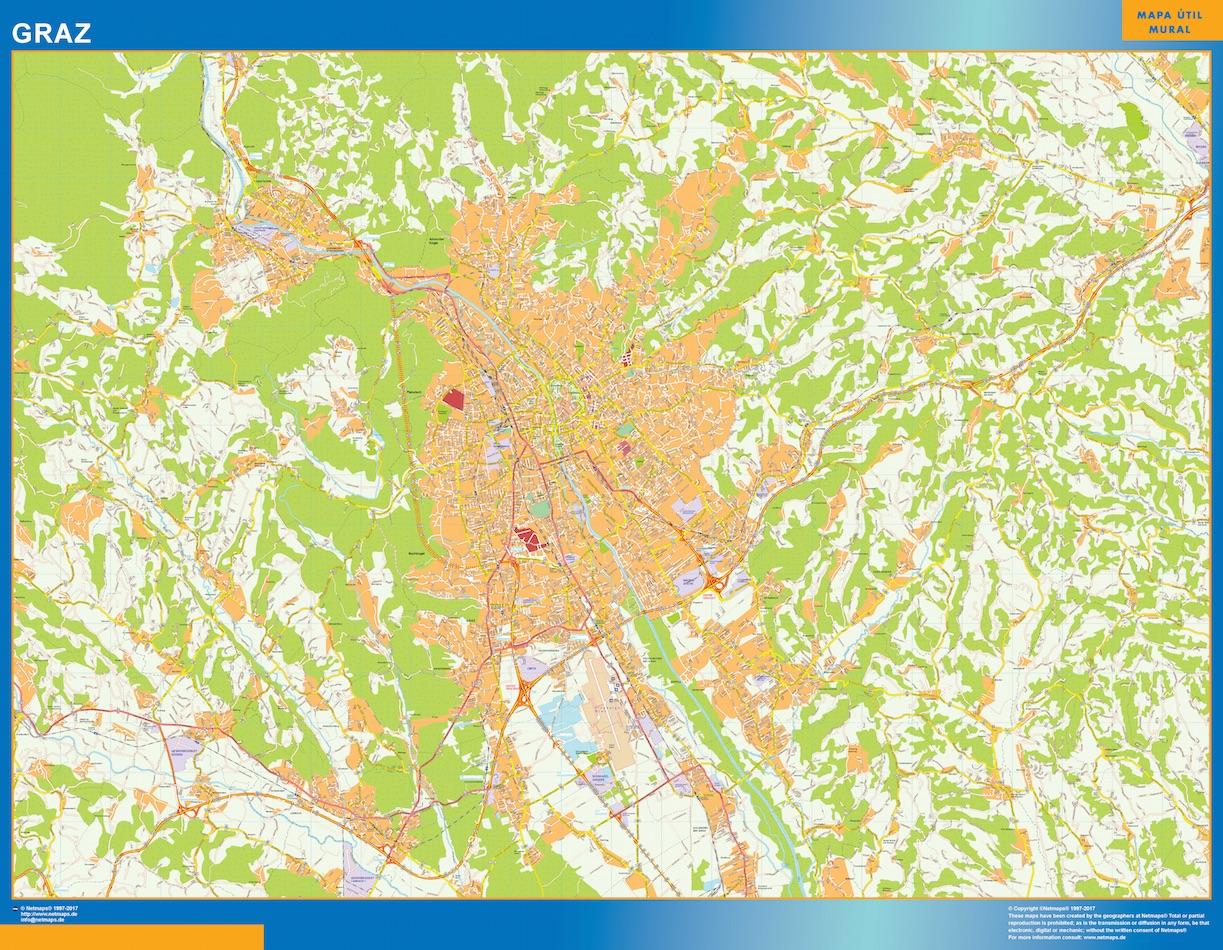 Mapa de Graz en Austria plastificado gigante