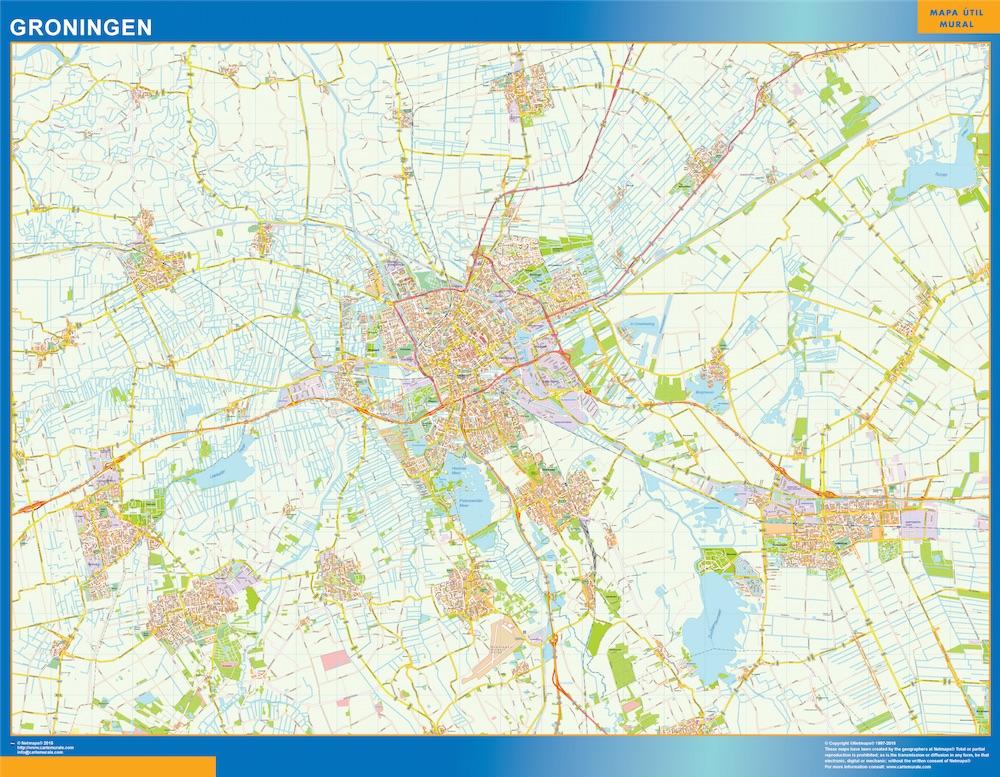 Mapa de Groningen plastificado gigante