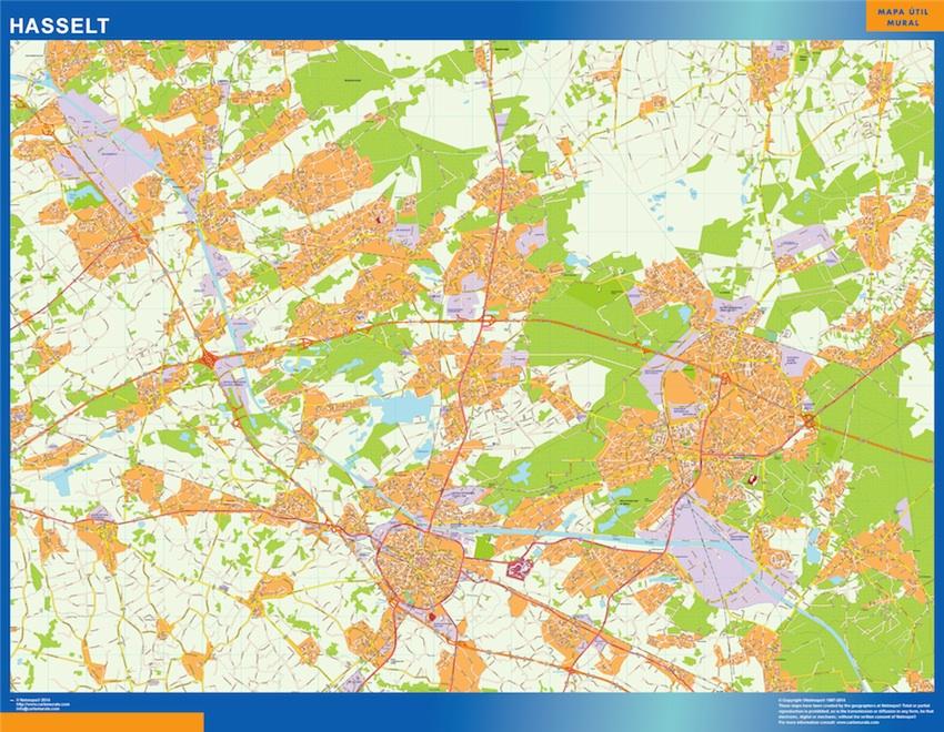 Mapa de Hasselt en Bélgica plastificado gigante
