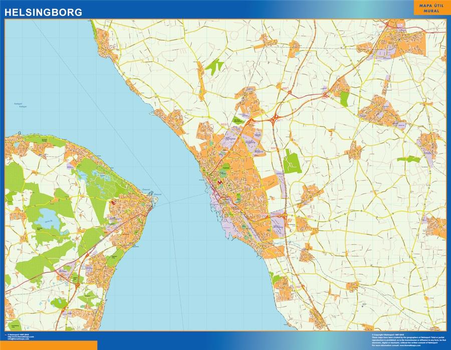 Mapa de Helsingborg en Suecia plastificado gigante