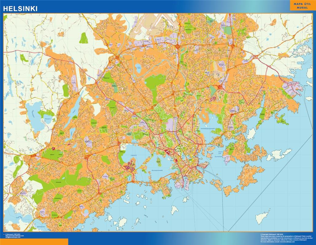 Mapa de Helsinki en Finlandia plastificado gigante