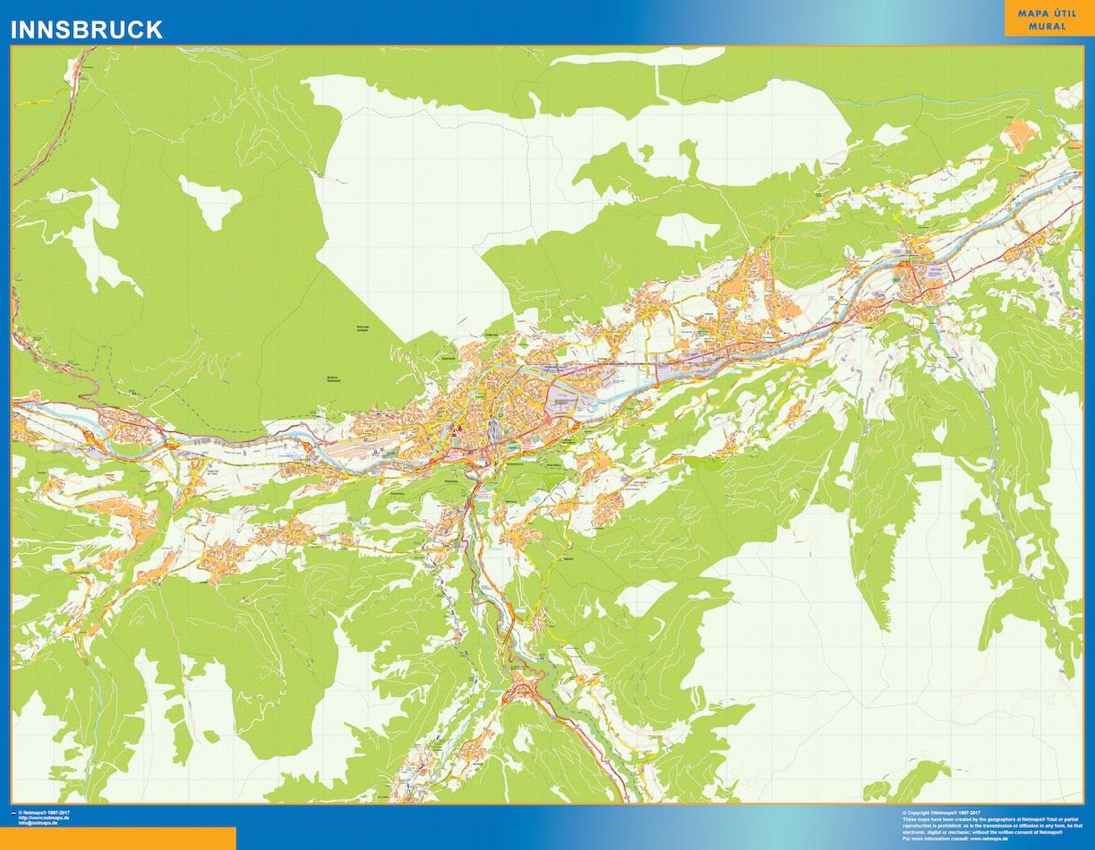 Mapa de Innsbruck en Austria plastificado gigante