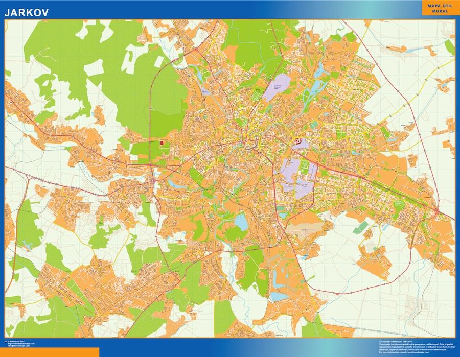 Mapa de Jarkov en Ucrania plastificado gigante