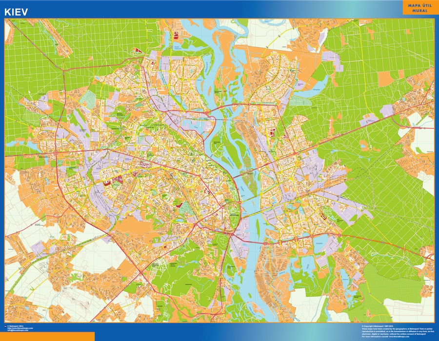 Mapa de Kiev en Ucrania plastificado gigante