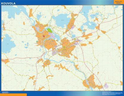 Mapa de Kouvola en Finlandia plastificado gigante
