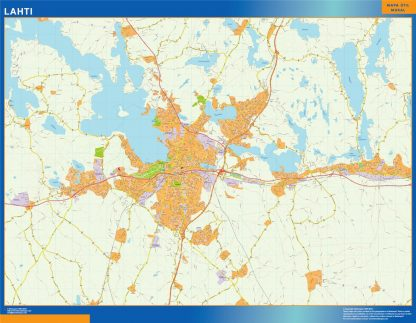 Mapa de Lahti en Finlandia plastificado gigante