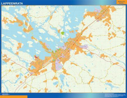 Mapa de Lappeenrata en Finlandia plastificado gigante