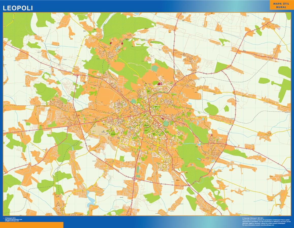 Mapa de Leopoli en Ucrania plastificado gigante