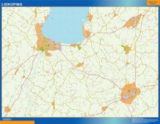 Mapa de Lidkoping en Suecia plastificado gigante