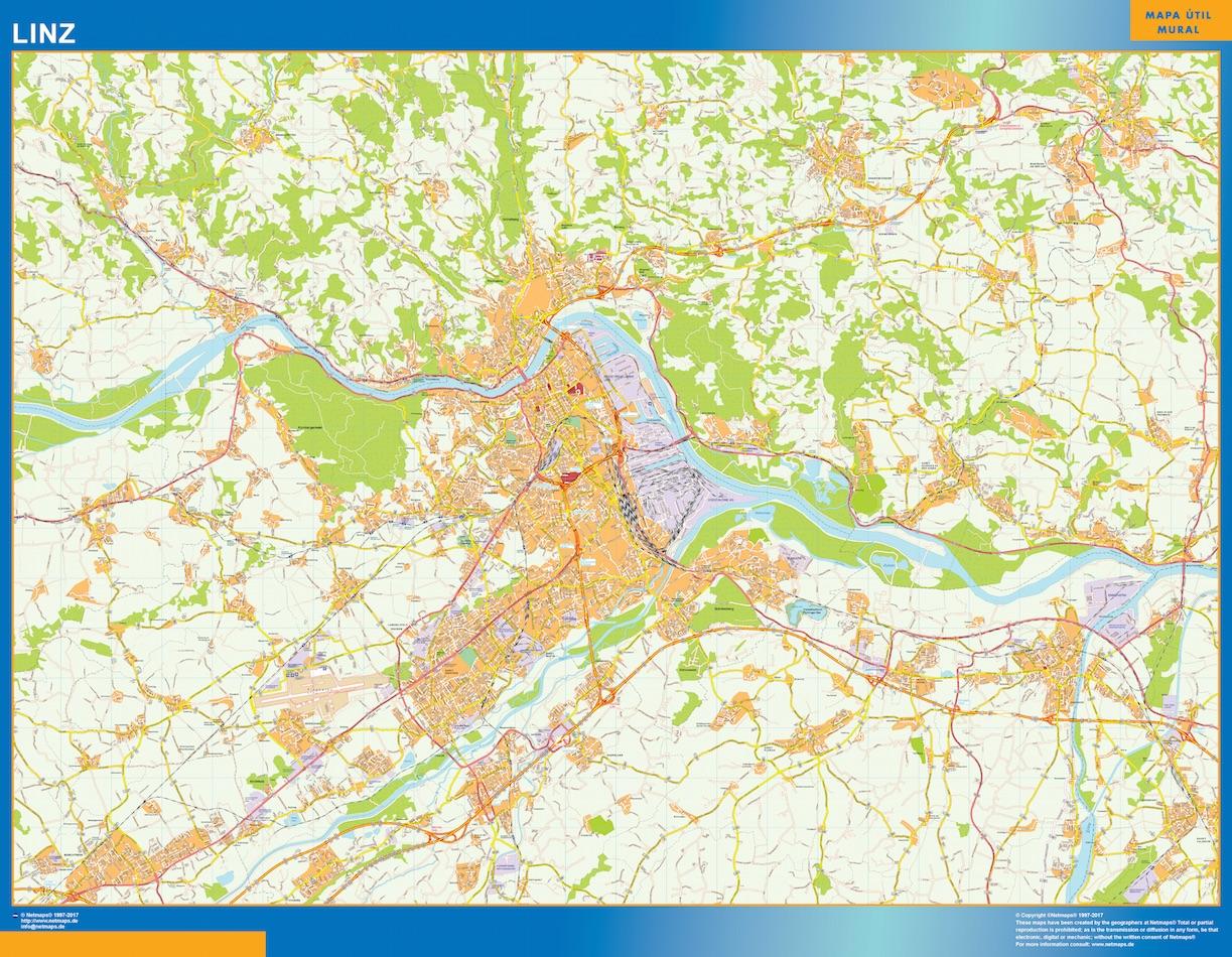 Mapa de Linz en Austria plastificado gigante