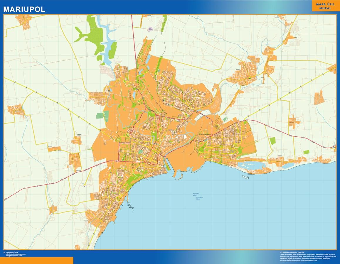 Mapa de Mariupol en Ucrania plastificado gigante
