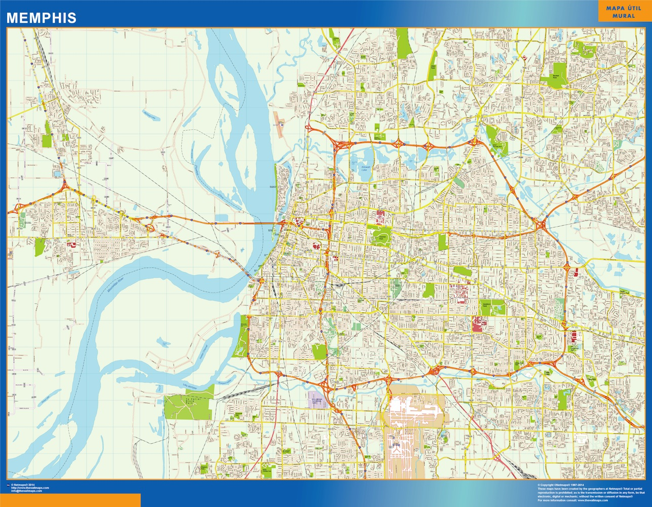 Mapa de Memphis plastificado gigante
