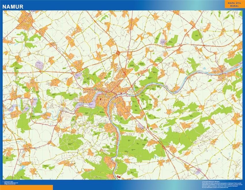 Mapa de Namur en Bélgica plastificado gigante