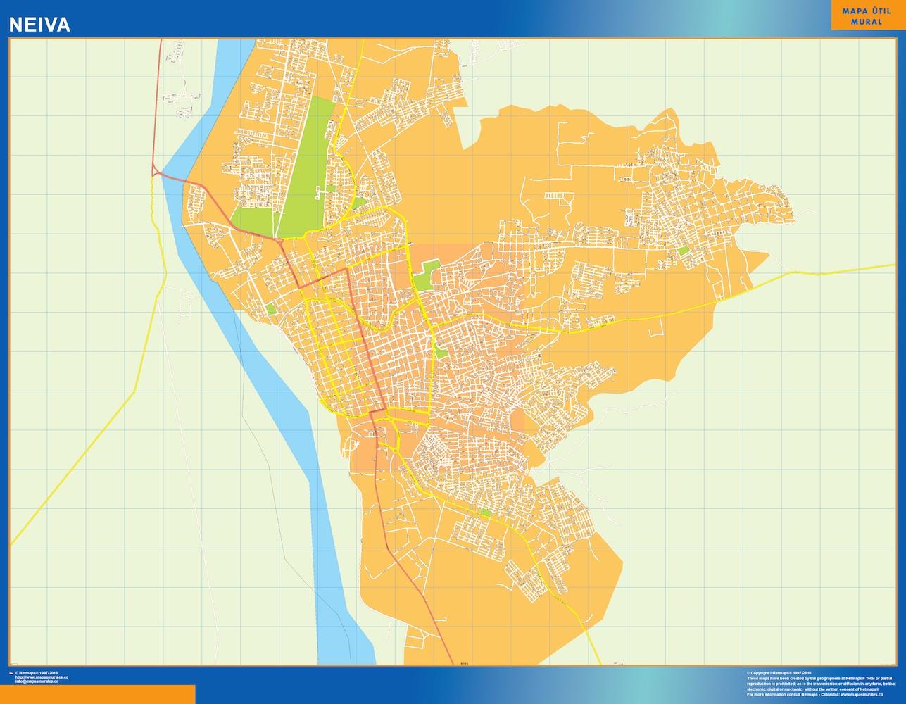 Mapa de Neiva en Colombia plastificado gigante