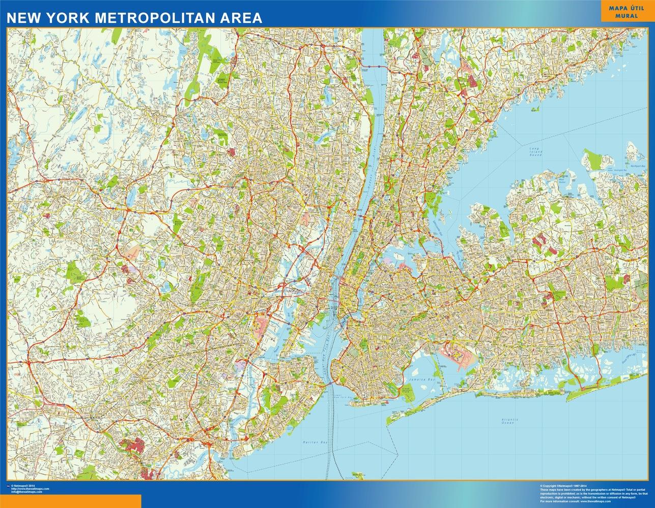 Mapa de Nueva York Metropolitano plastificado gigante
