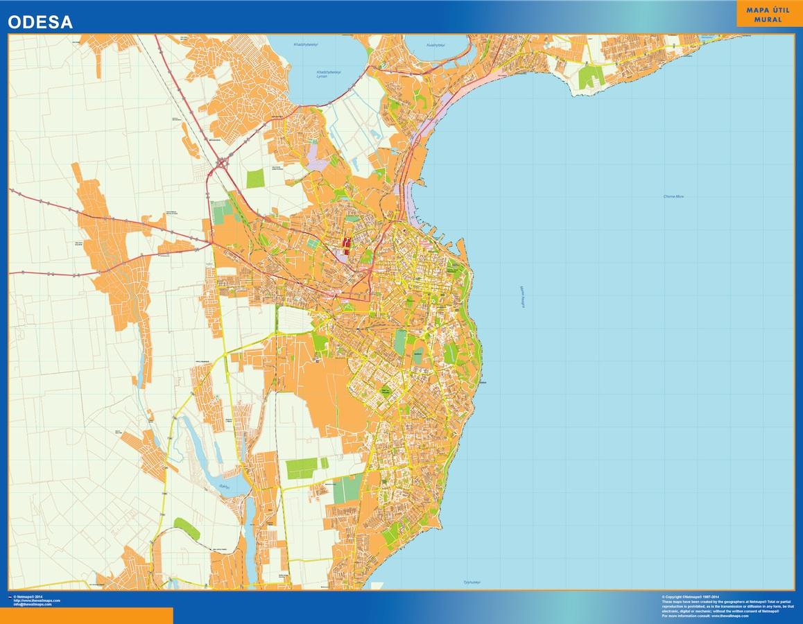 Mapa de Odesa en Ucrania plastificado gigante