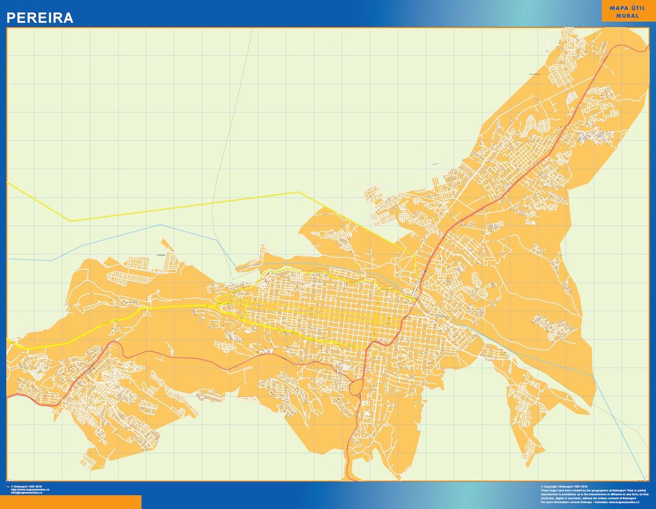 Mapa de Pereira en Colombia plastificado gigante