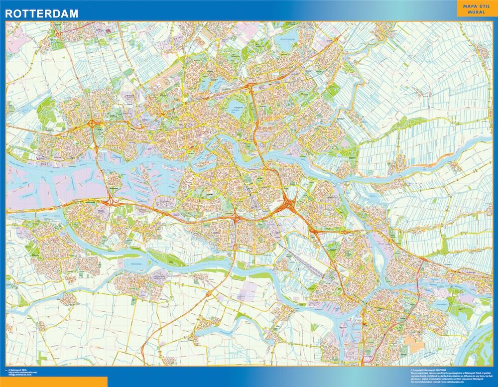 Mapa de Rotterdam plastificado gigante