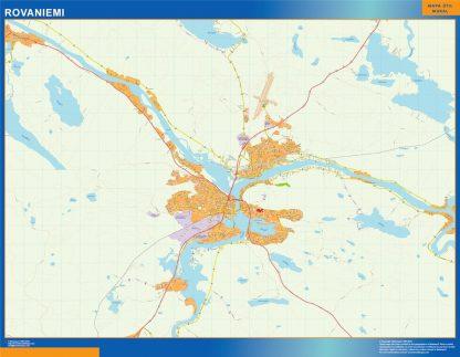 Mapa de Rovaniemi en Finlandia plastificado gigante