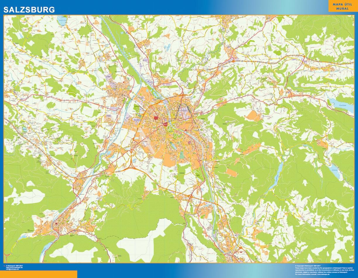 Mapa de Salzsburgo en Austria plastificado gigante