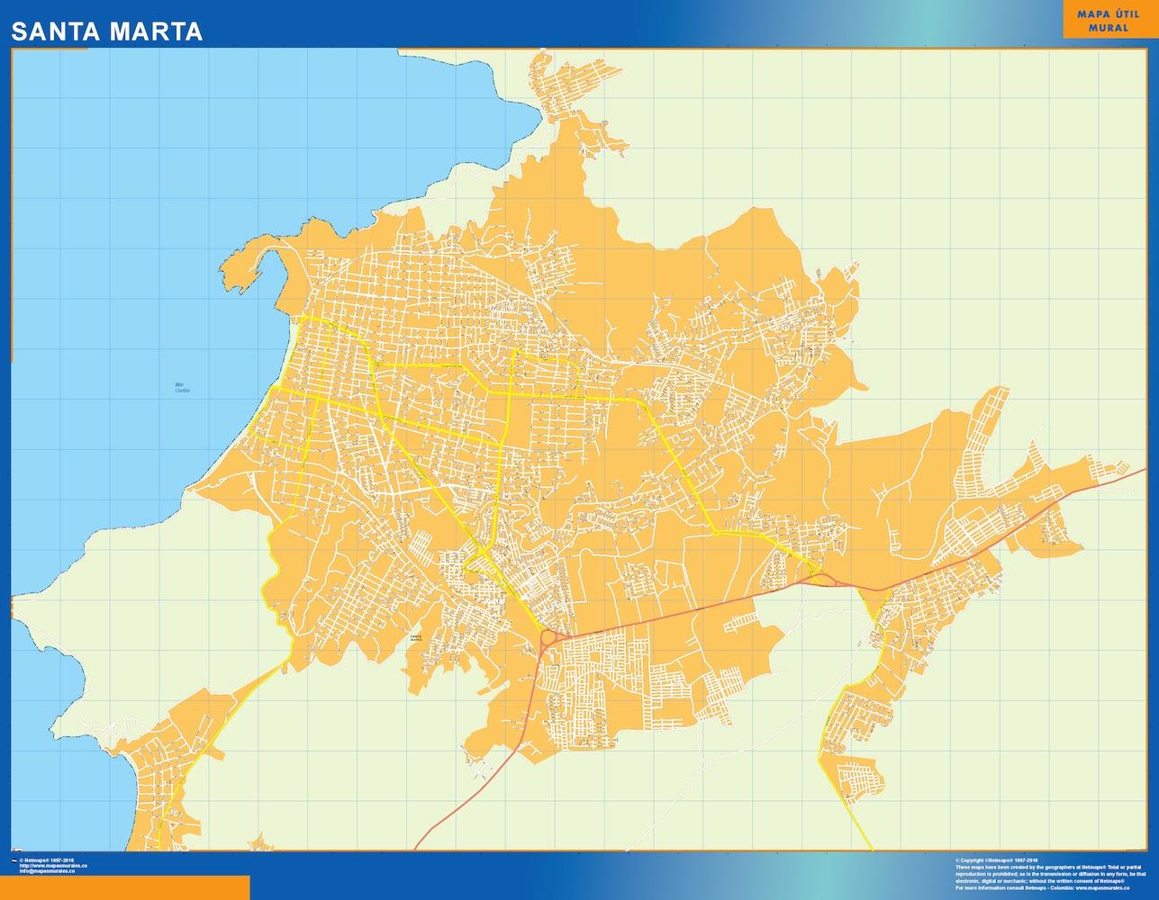 Mapa de Santa Marta en Colombia plastificado gigante