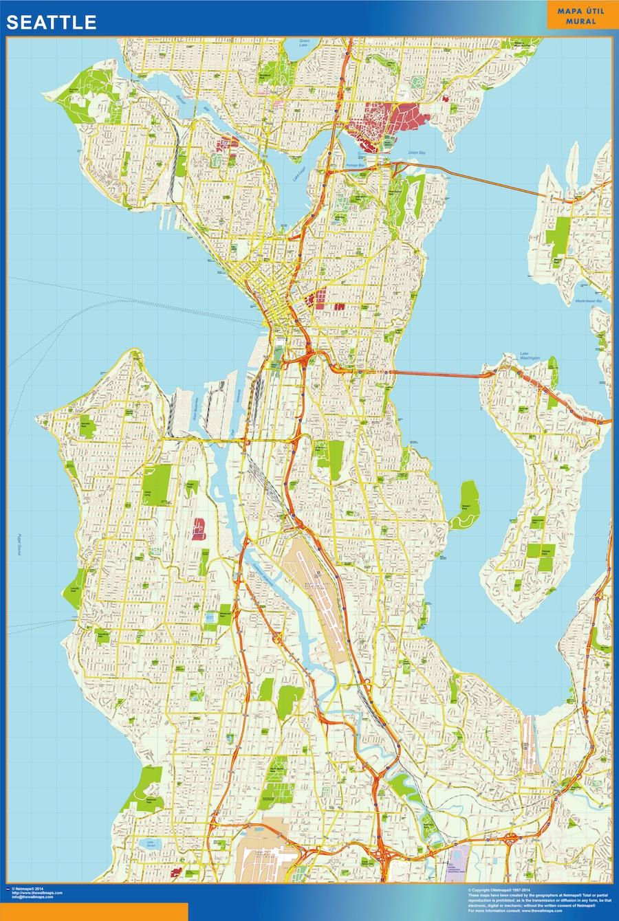 Mapa de Seattle plastificado gigante