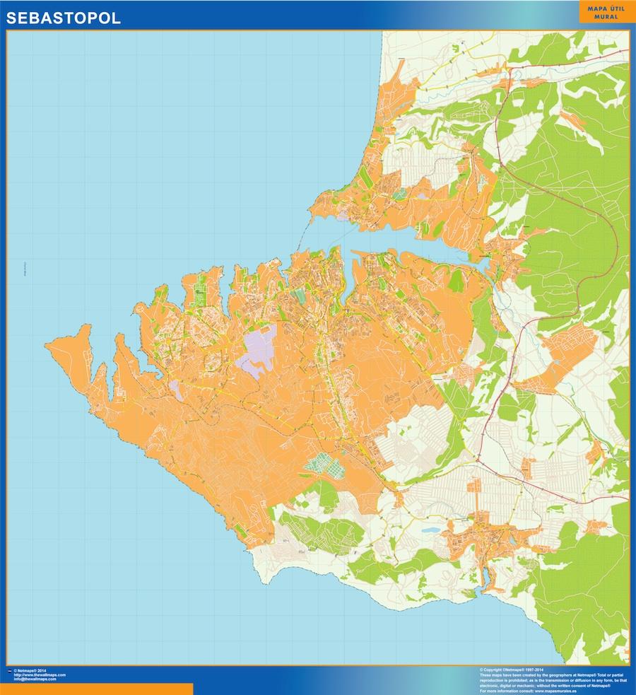 Mapa de Sebastopol en Ucrania plastificado gigante