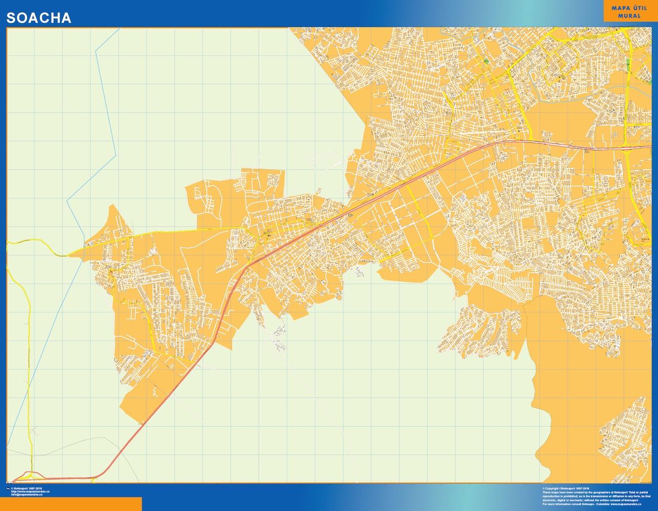Mapa de Soacha en Colombia plastificado gigante