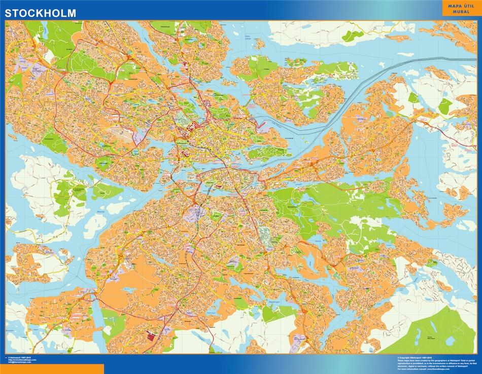 Mapa de Stockholm en Suecia plastificado gigante