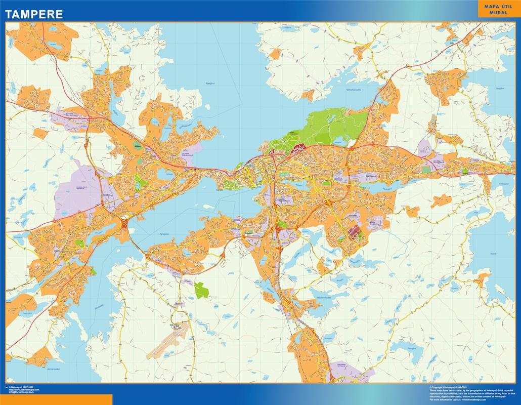 Mapa de Tampere en Finlandia plastificado gigante